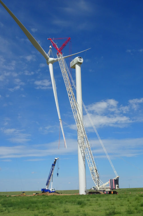 Work at a wind farm project of Avangrid Renewables
