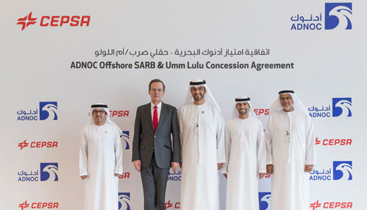 Officials of ADNOC and Cepsa during the Abu Dhabi offshore concession agreement.