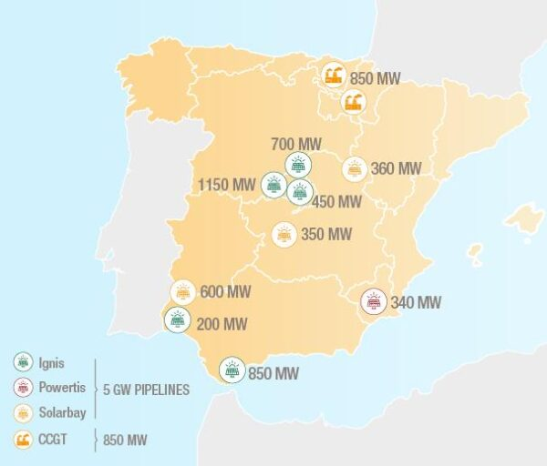 Map showing solar power projects to be developed for Total in Spain.